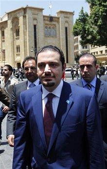 f6f1fd2bd ... Saad Hariri leaves the Parliament after the re-election of  pro-Hezbollah Parliament Speaker Nabih Berri in Beirut, Lebanon, Thursday,  June 25, 2009.